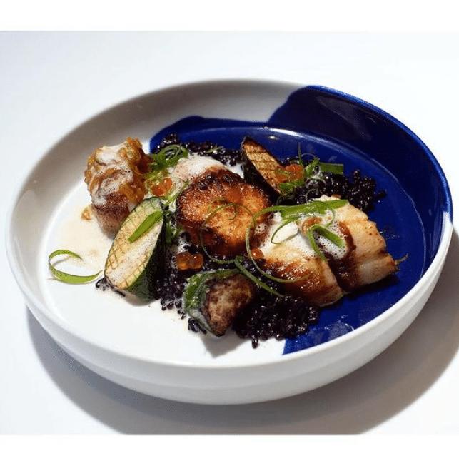 Seafood dish with caviar
