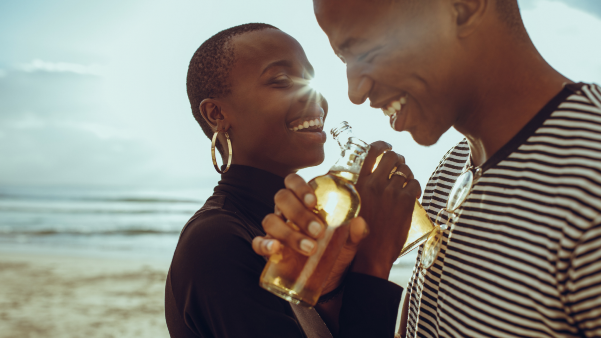 Photo of black couple smiling